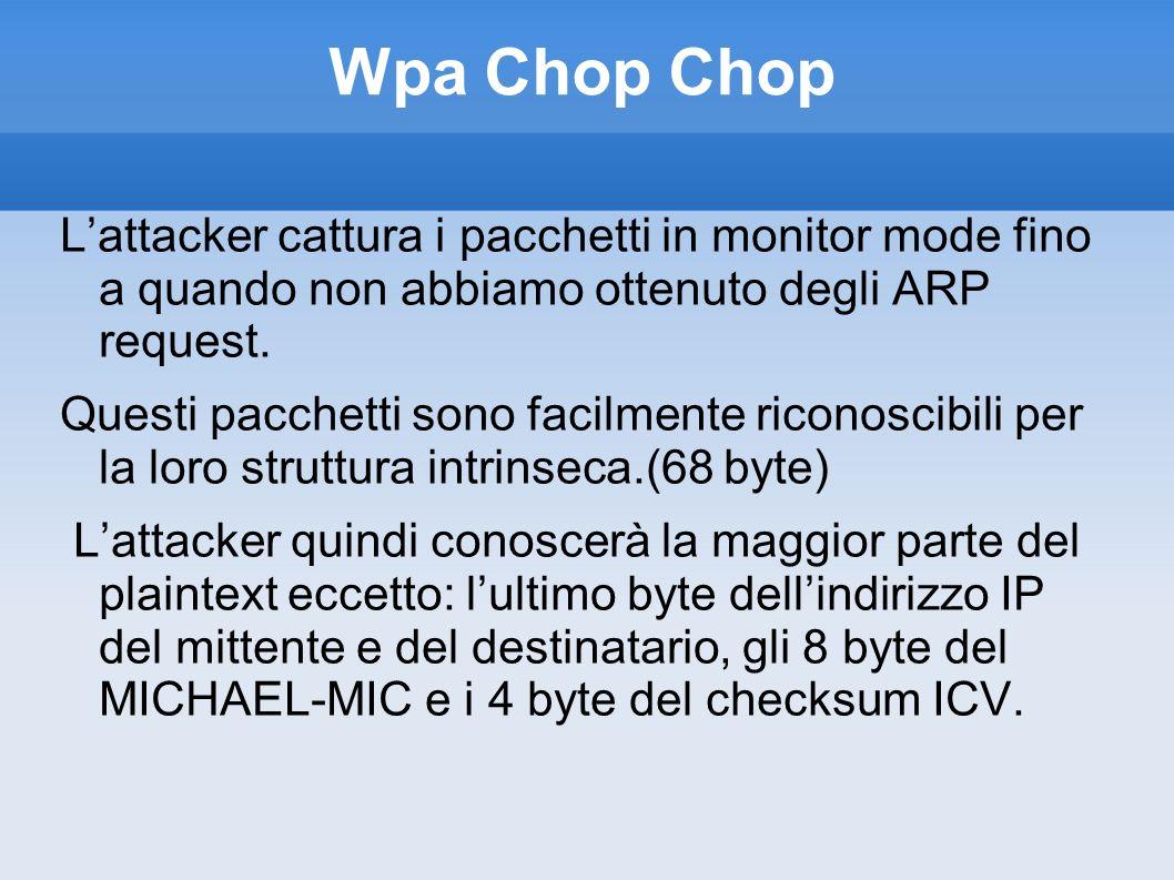 Wpa Chop Chop Lattacker cattura i pacchetti in monitor mode fino a quando non abbiamo ottenuto degli ARP request. Questi pacchetti sono facilmente ric