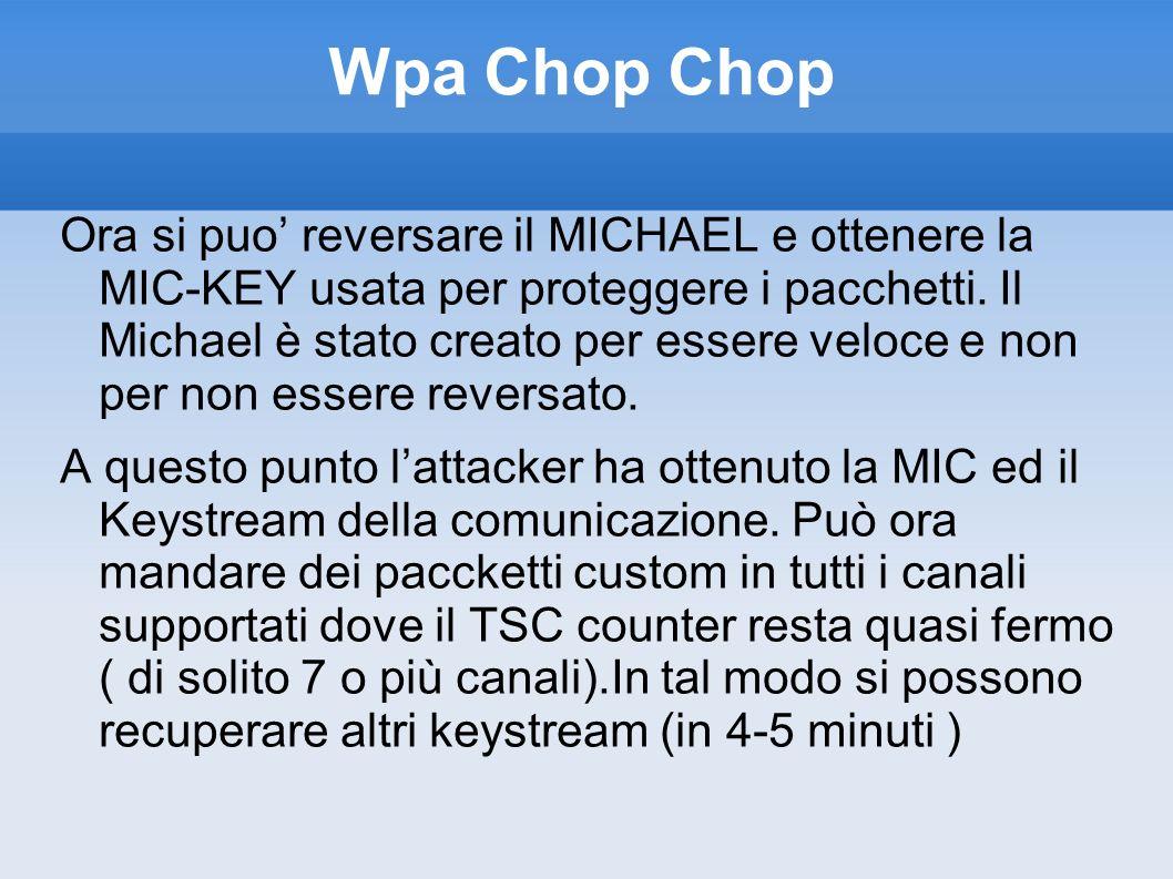 Wpa Chop Chop Ora si puo reversare il MICHAEL e ottenere la MIC-KEY usata per proteggere i pacchetti. Il Michael è stato creato per essere veloce e no