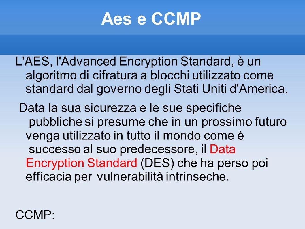 Aes e CCMP L'AES, l'Advanced Encryption Standard, è un algoritmo di cifratura a blocchi utilizzato come standard dal governo degli Stati Uniti d'Ameri