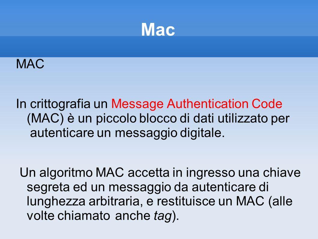 Mac MAC In crittografia un Message Authentication Code (MAC) è un piccolo blocco di dati utilizzato per autenticare un messaggio digitale. Un algoritm
