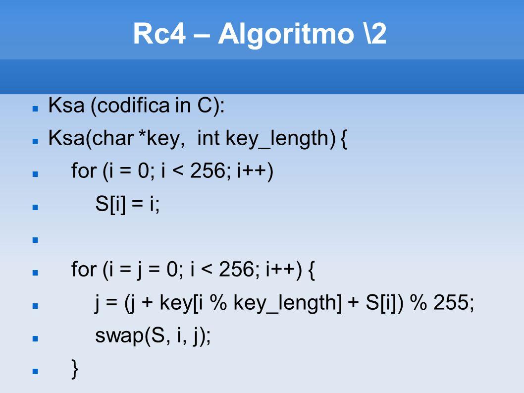 Rc4 – Algoritmo \2 Ksa (codifica in C): Ksa(char *key, int key_length) { for (i = 0; i < 256; i++) S[i] = i; for (i = j = 0; i < 256; i++) { j = (j +