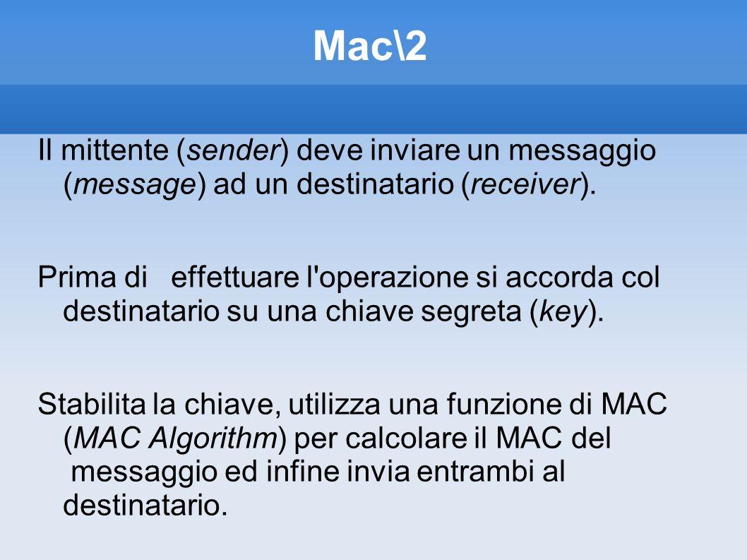 Mac\2 Il mittente (sender) deve inviare un messaggio (message) ad un destinatario (receiver). Prima di effettuare l'operazione si accorda col destinat