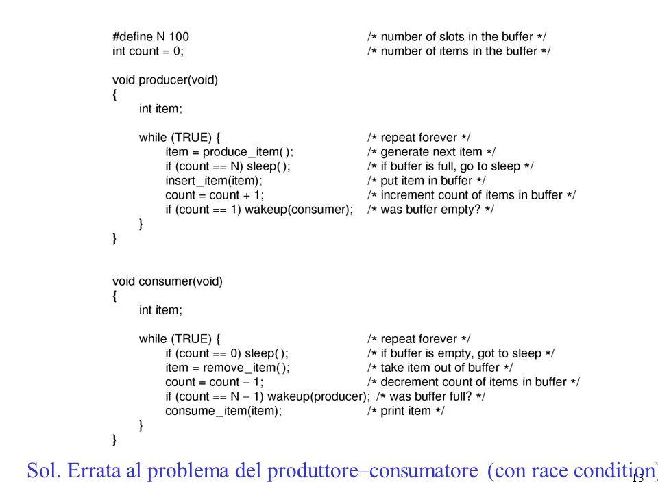 13 Sol. Errata al problema del produttore–consumatore (con race condition)