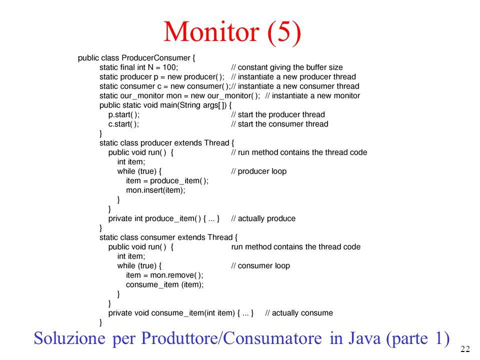 22 Monitor (5) Soluzione per Produttore/Consumatore in Java (parte 1)