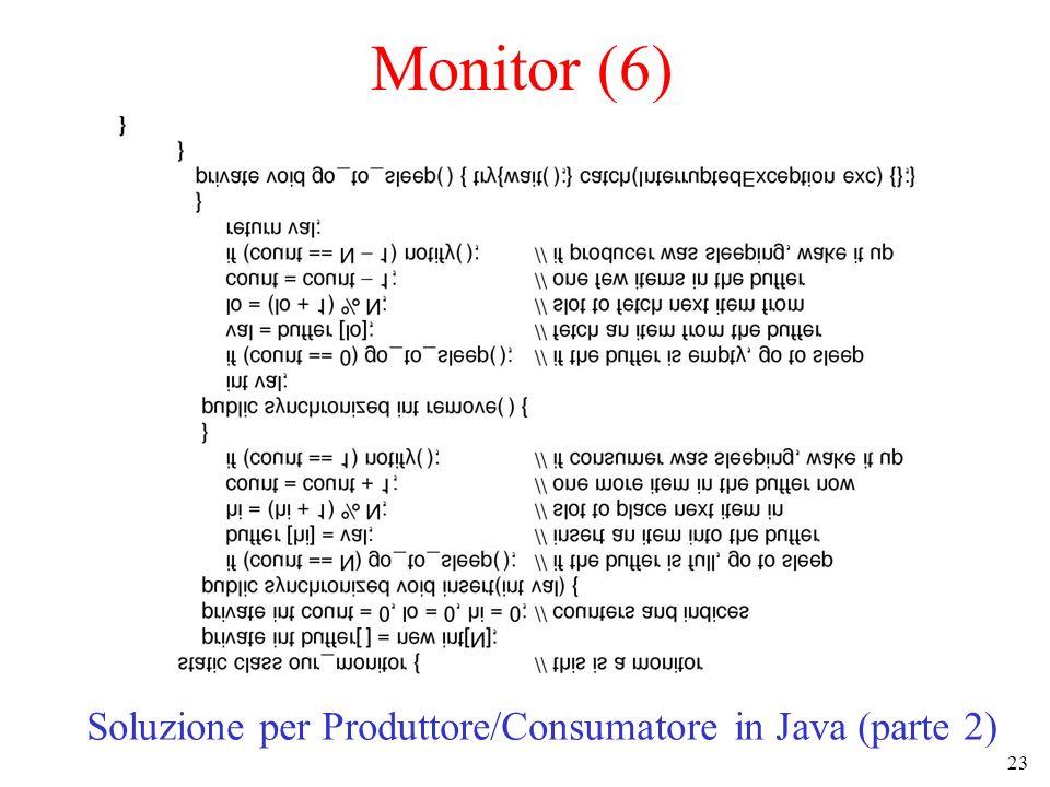 23 Monitor (6) Soluzione per Produttore/Consumatore in Java (parte 2)