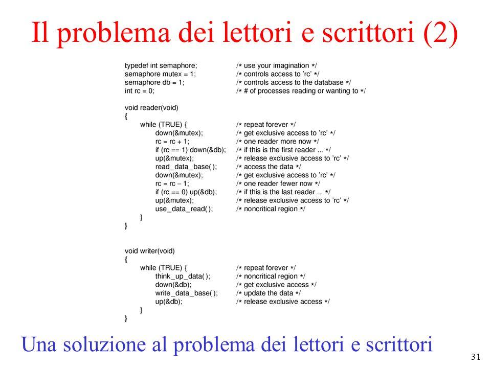 31 Il problema dei lettori e scrittori (2) Una soluzione al problema dei lettori e scrittori