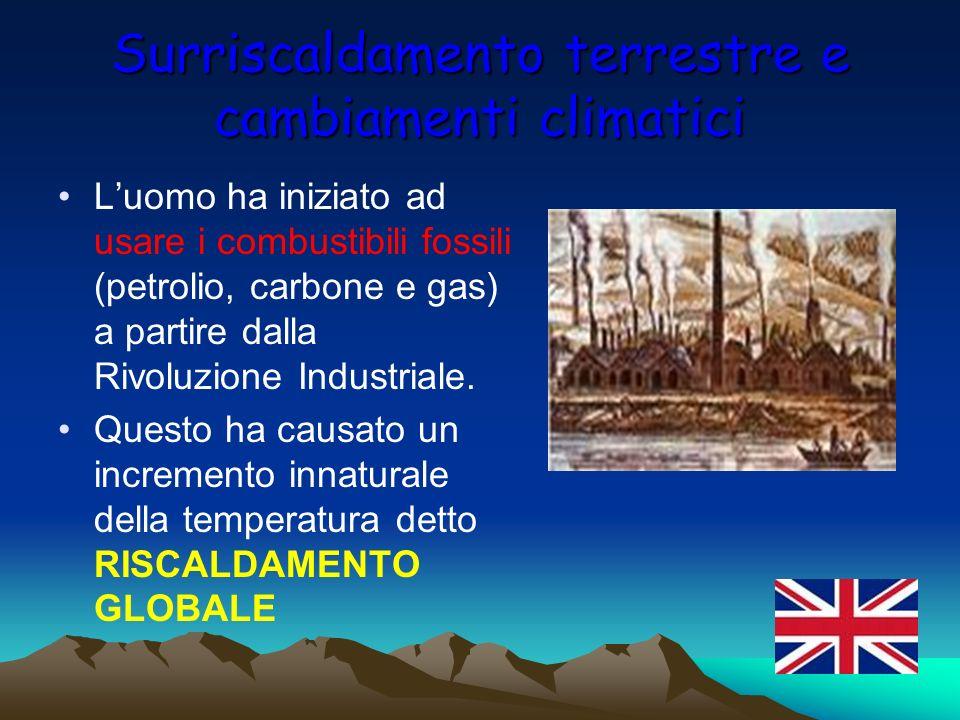 Surriscaldamento terrestre e cambiamenti climatici Luomo ha iniziato ad usare i combustibili fossili (petrolio, carbone e gas) a partire dalla Rivoluz