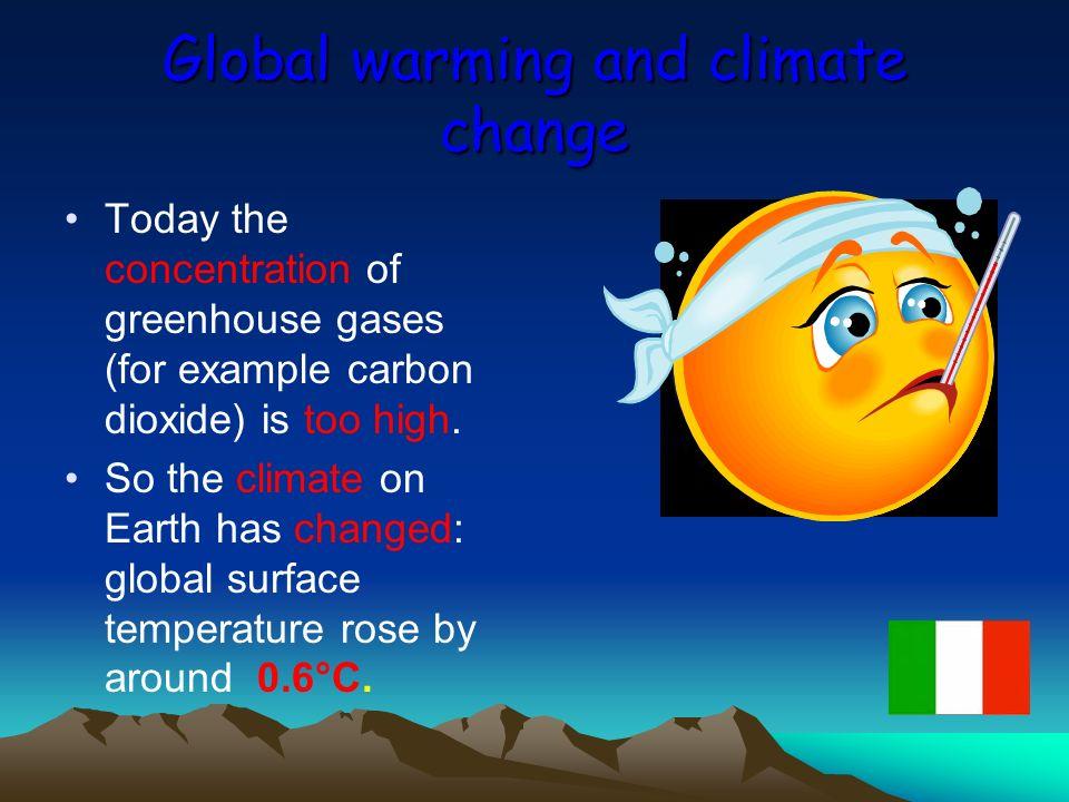 Surriscaldamento terrestre e cambiamenti climatici Oggi la concentrazione dei gas serra (per es.
