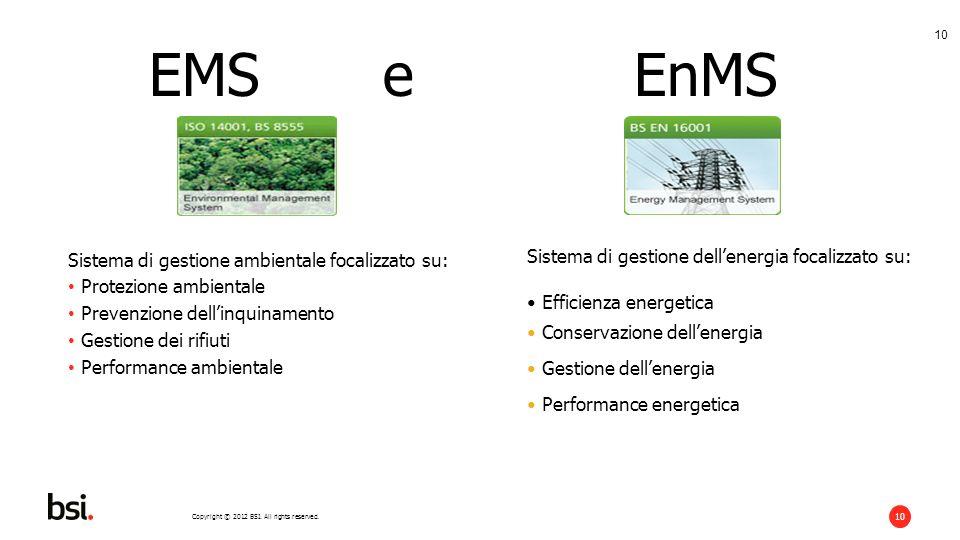 Copyright © 2012 BSI. All rights reserved. 10 EMS e EnMS Sistema di gestione ambientale focalizzato su: Protezione ambientale Prevenzione dellinquinam