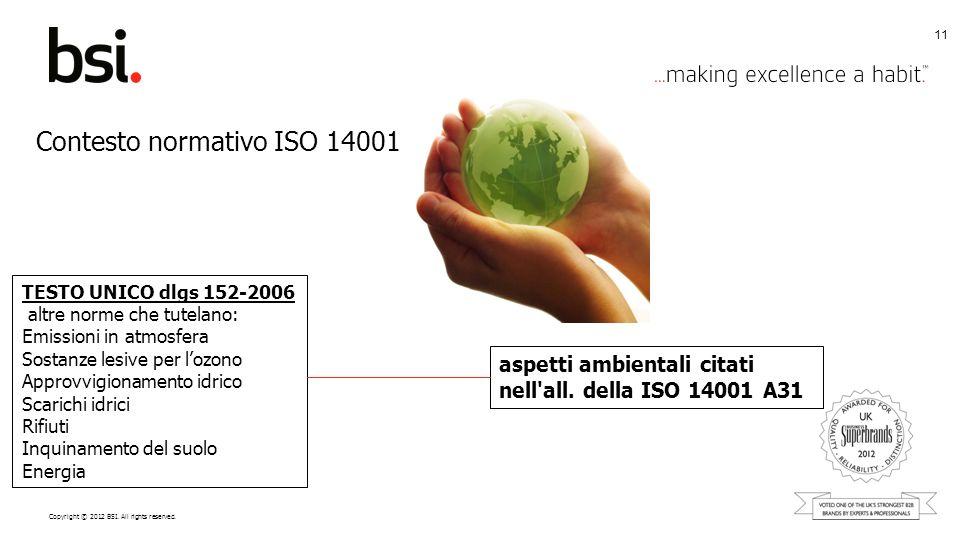 Copyright © 2012 BSI. All rights reserved. 11 aspetti ambientali citati nell'all. della ISO 14001 A31 TESTO UNICO dlgs 152-2006 altre norme che tutela