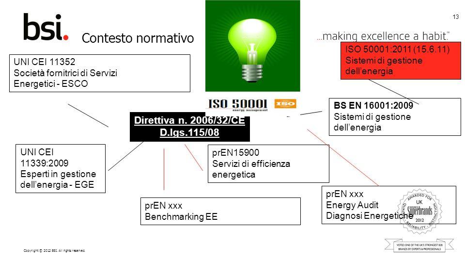 Copyright © 2012 BSI. All rights reserved. Contesto normativo 13 UNI CEI 11339:2009 Esperti in gestione dellenergia - EGE UNI CEI 11352 Società fornit
