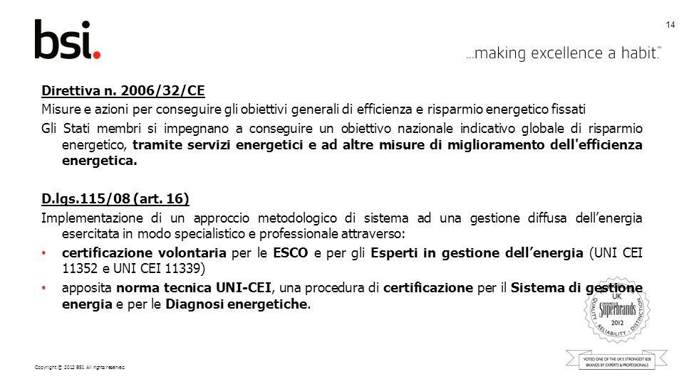 Copyright © 2012 BSI. All rights reserved. Direttiva n. 2006/32/CE Misure e azioni per conseguire gli obiettivi generali di efficienza e risparmio ene
