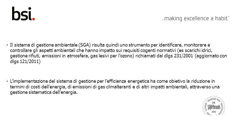 Copyright © 2012 BSI. All rights reserved. Il sistema di gestione ambientale (SGA) risulta quindi uno strumento per identificare, monitorare e control