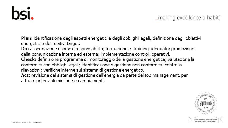 Copyright © 2012 BSI. All rights reserved. Plan: identificazione degli aspetti energetici e degli obblighi legali, definizione degli obiettivi energet