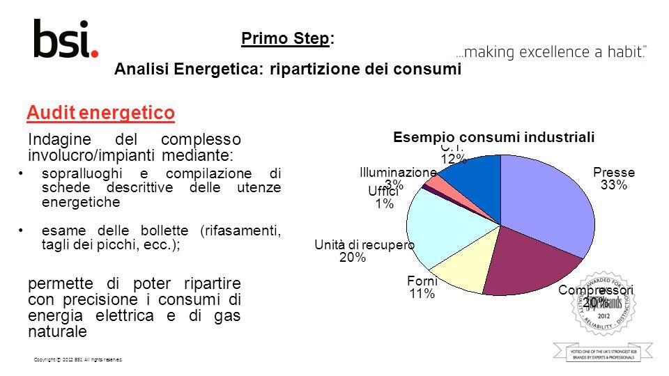 Copyright © 2012 BSI. All rights reserved. Primo Step: Analisi Energetica: ripartizione dei consumi Audit energetico sopralluoghi e compilazione di sc