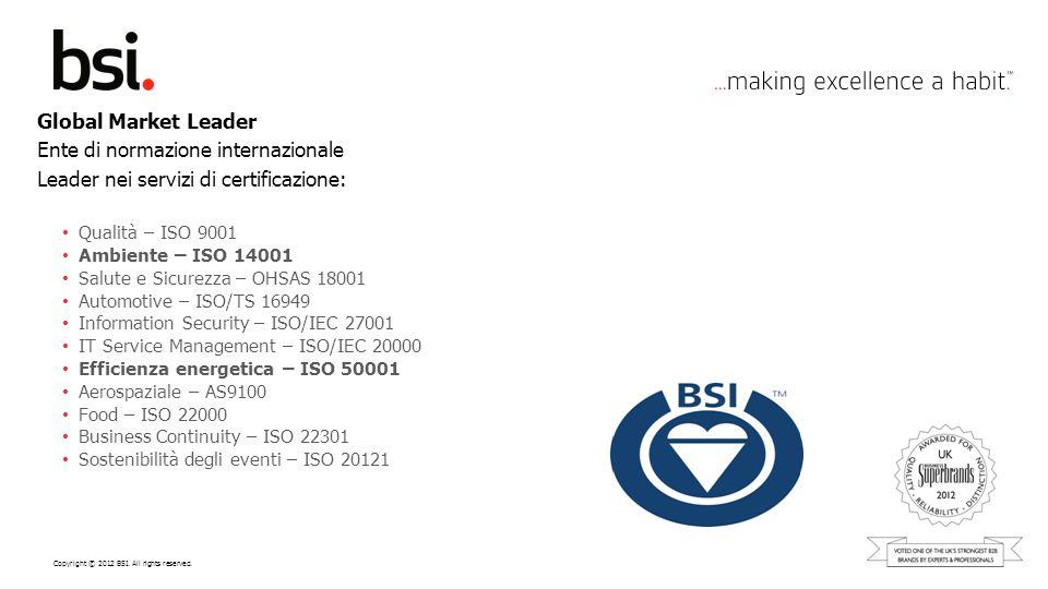 Copyright © 2012 BSI. All rights reserved. Global Market Leader Ente di normazione internazionale Leader nei servizi di certificazione: Qualità – ISO