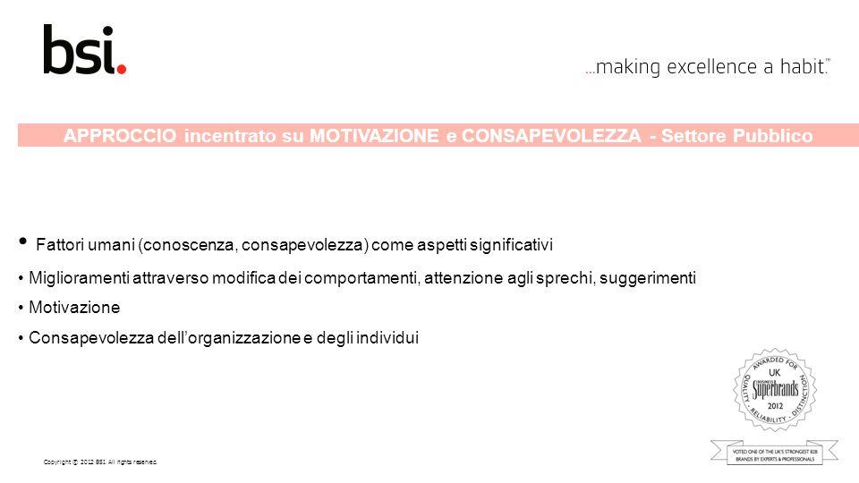 Copyright © 2012 BSI. All rights reserved. APPROCCIO incentrato su MOTIVAZIONE e CONSAPEVOLEZZA - Settore Pubblico Fattori umani (conoscenza, consapev