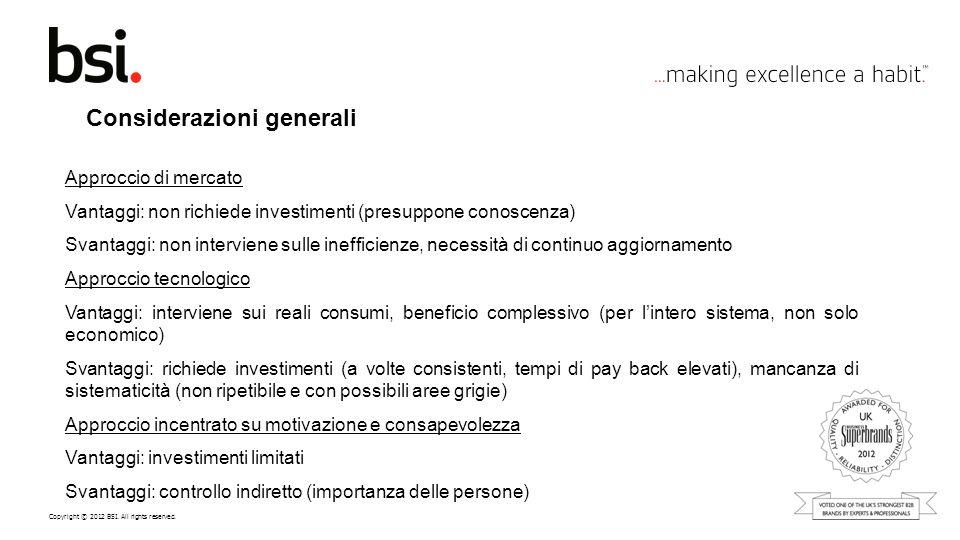 Copyright © 2012 BSI. All rights reserved. Considerazioni generali Approccio di mercato Vantaggi: non richiede investimenti (presuppone conoscenza) Sv