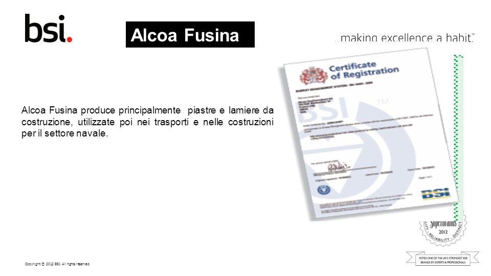 Copyright © 2012 BSI. All rights reserved. Alcoa Fusina produce principalmente piastre e lamiere da costruzione, utilizzate poi nei trasporti e nelle