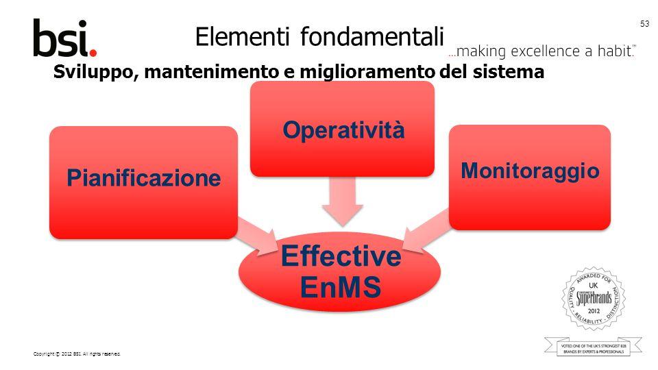 Copyright © 2012 BSI. All rights reserved. Elementi fondamentali 53 Effective EnMS Pianificazione Sviluppo, mantenimento e miglioramento del sistema O