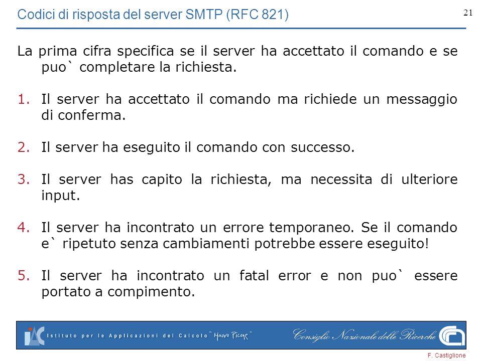 F. Castiglione 21 Codici di risposta del server SMTP (RFC 821) La prima cifra specifica se il server ha accettato il comando e se puo` completare la r