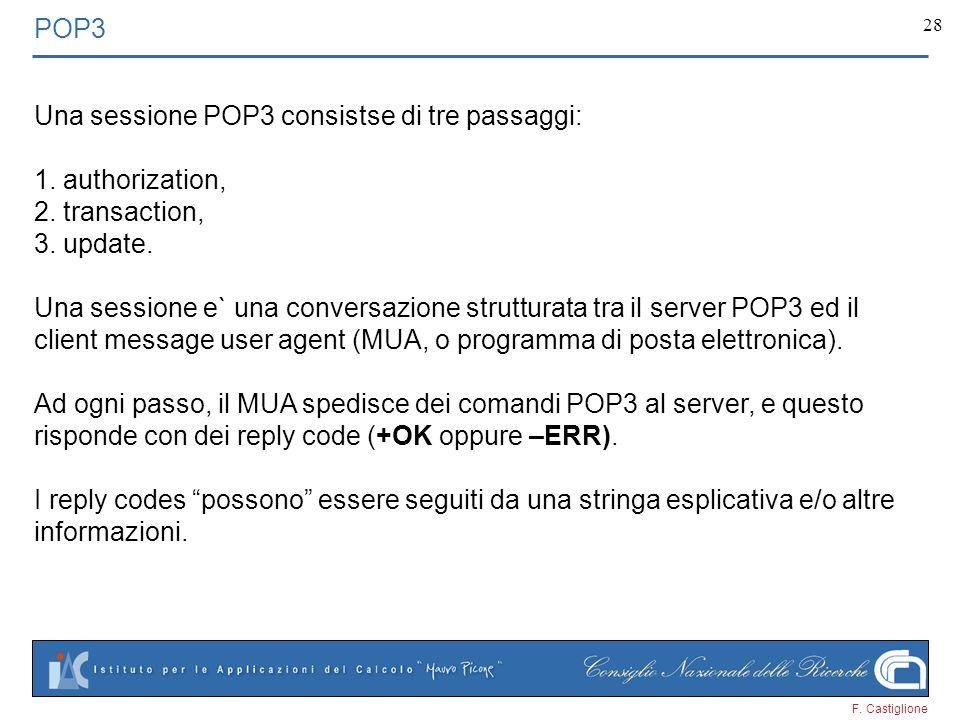 F. Castiglione 28 POP3 Una sessione POP3 consistse di tre passaggi: 1. authorization, 2. transaction, 3. update. Una sessione e` una conversazione str