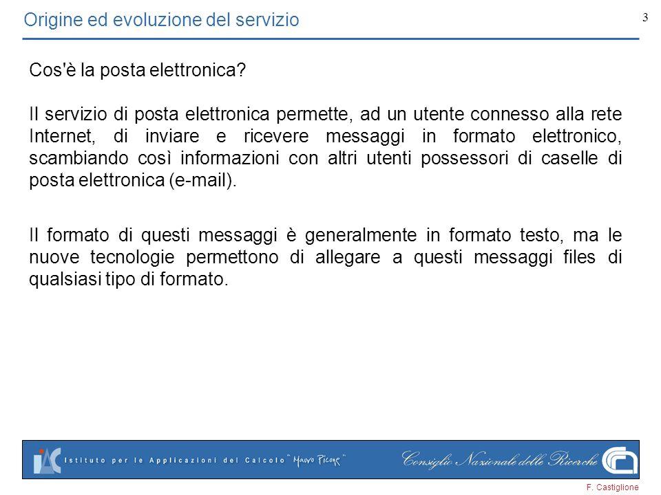 F. Castiglione 3 Origine ed evoluzione del servizio Cos'è la posta elettronica? Il formato di questi messaggi è generalmente in formato testo, ma le n