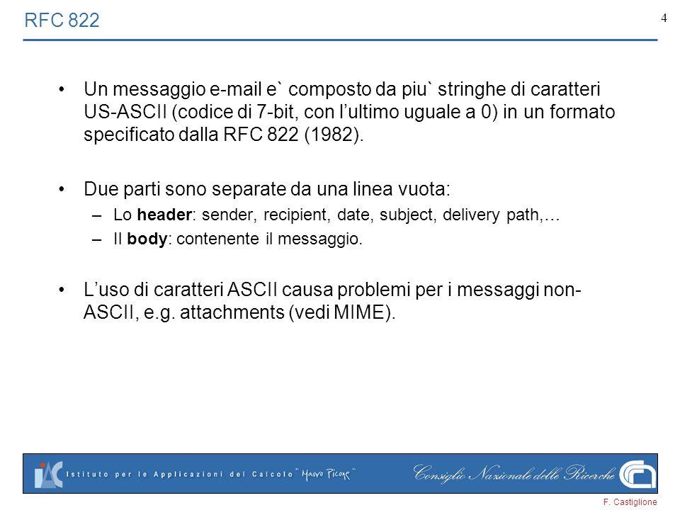 F. Castiglione 4 RFC 822 Un messaggio e-mail e` composto da piu` stringhe di caratteri US-ASCII (codice di 7-bit, con lultimo uguale a 0) in un format