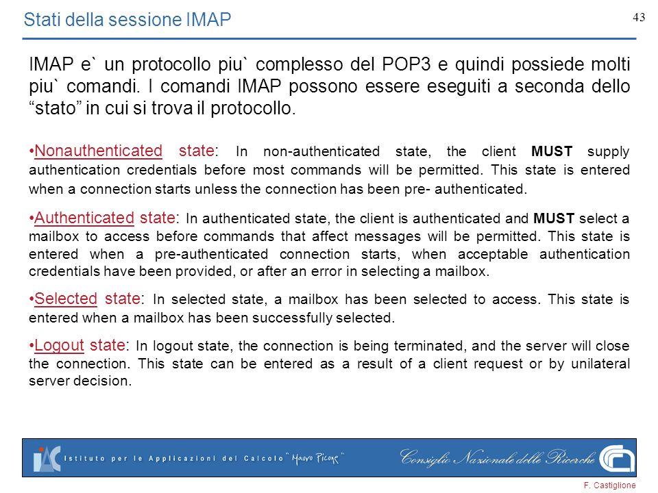 F. Castiglione 43 Stati della sessione IMAP IMAP e` un protocollo piu` complesso del POP3 e quindi possiede molti piu` comandi. I comandi IMAP possono