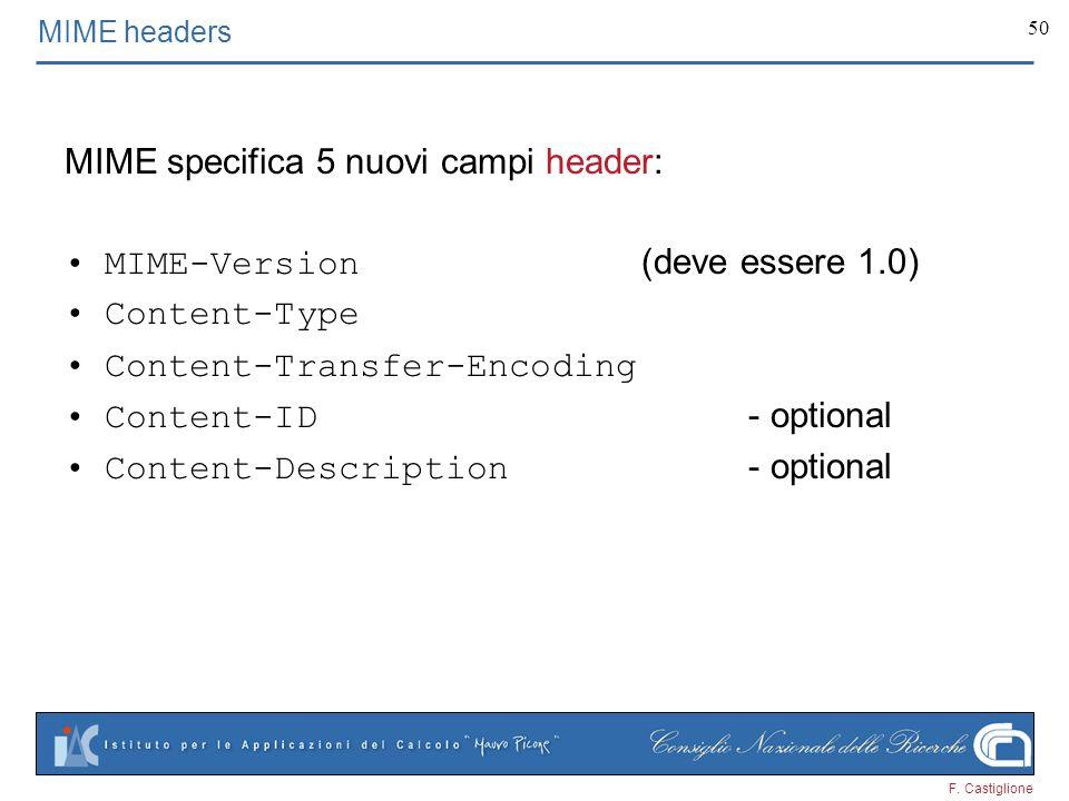 F. Castiglione 50 MIME specifica 5 nuovi campi header: MIME-Version (deve essere 1.0) Content-Type Content-Transfer-Encoding Content-ID - optional Con