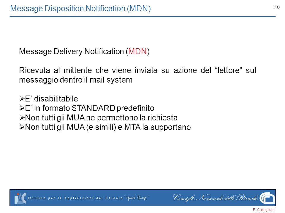 F. Castiglione 59 Message Disposition Notification (MDN) Message Delivery Notification (MDN) Ricevuta al mittente che viene inviata su azione del lett