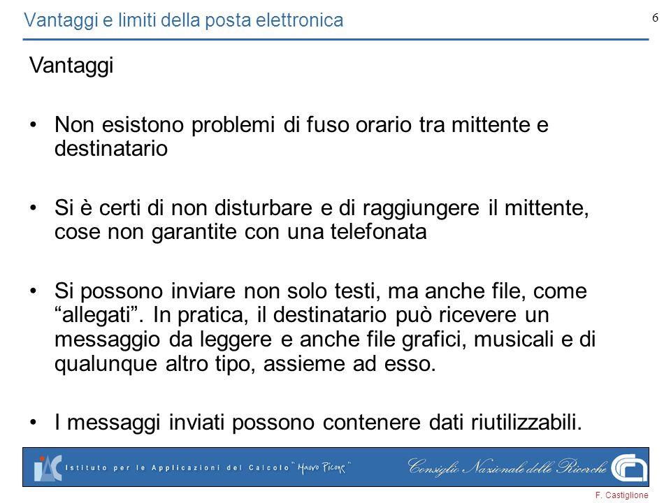 F. Castiglione 6 Vantaggi e limiti della posta elettronica Vantaggi Non esistono problemi di fuso orario tra mittente e destinatario Si è certi di non