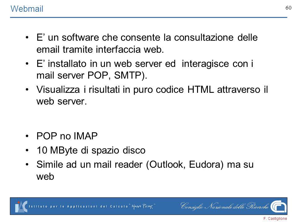 F. Castiglione 60 Webmail E un software che consente la consultazione delle email tramite interfaccia web. E installato in un web server ed interagisc