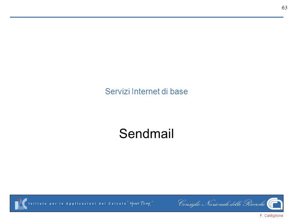 F. Castiglione 63 Sendmail Servizi Internet di base