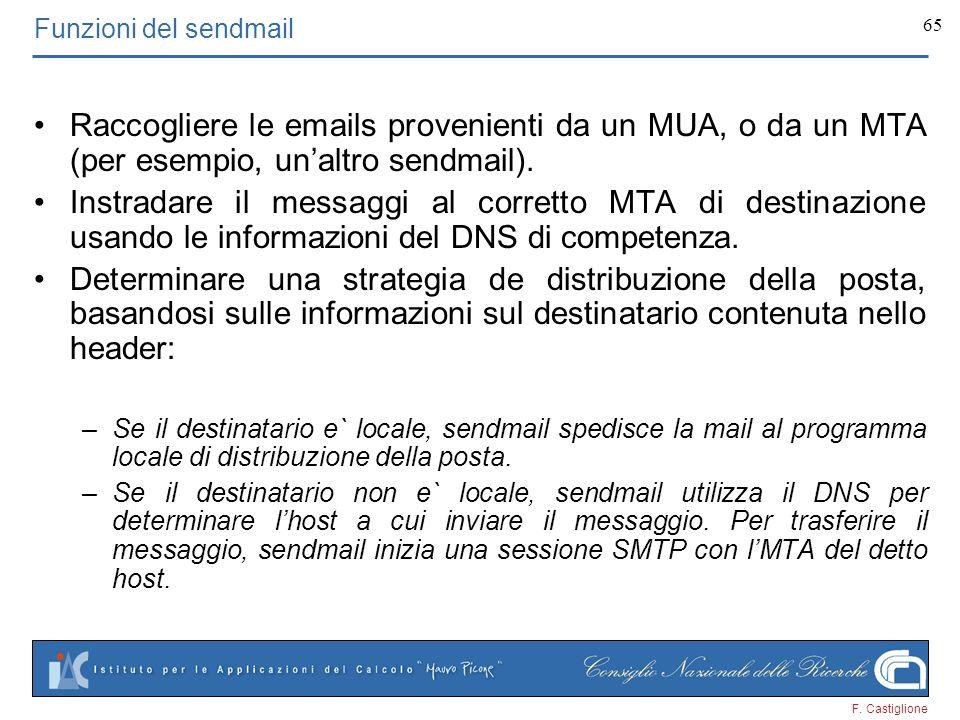 F. Castiglione 65 Funzioni del sendmail Raccogliere le emails provenienti da un MUA, o da un MTA (per esempio, unaltro sendmail). Instradare il messag