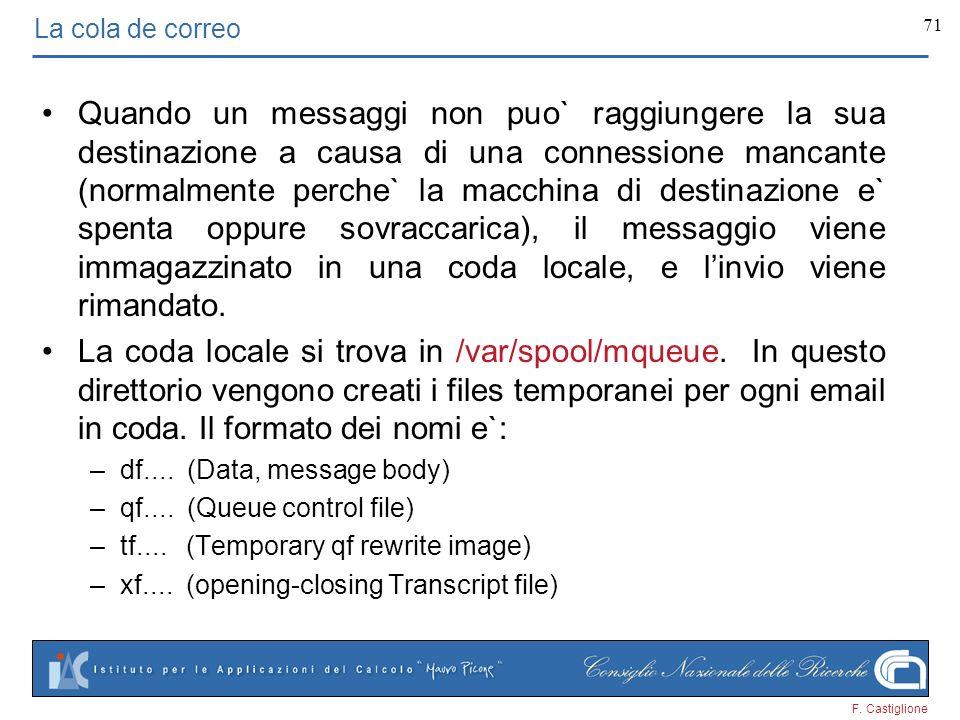 F. Castiglione 71 La cola de correo Quando un messaggi non puo` raggiungere la sua destinazione a causa di una connessione mancante (normalmente perch