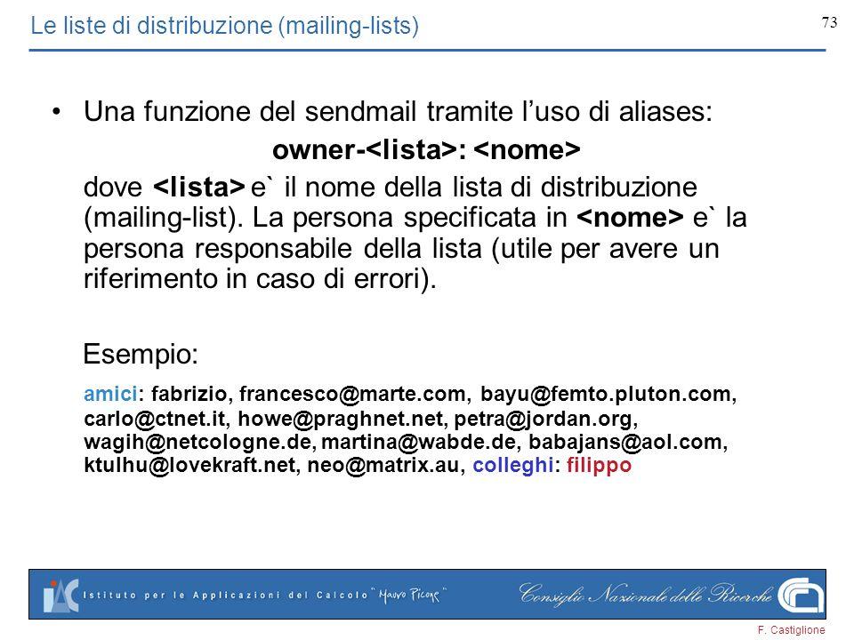 F. Castiglione 73 Le liste di distribuzione (mailing-lists) Una funzione del sendmail tramite luso di aliases: owner- : dove e` il nome della lista di