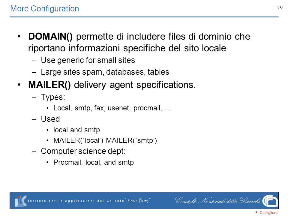 F. Castiglione 79 More Configuration DOMAIN() permette di includere files di dominio che riportano informazioni specifiche del sito locale –Use generi