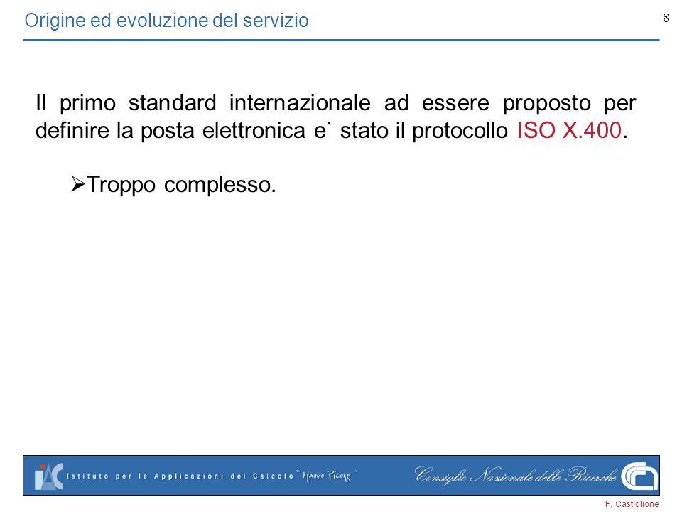 F. Castiglione 8 Origine ed evoluzione del servizio Il primo standard internazionale ad essere proposto per definire la posta elettronica e` stato il