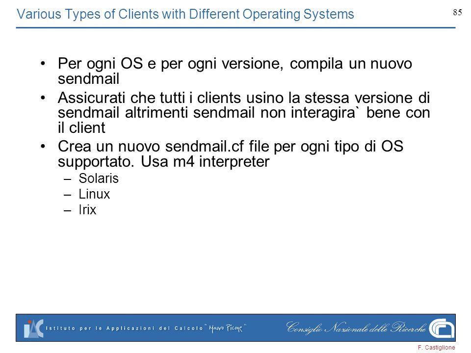 F. Castiglione 85 Various Types of Clients with Different Operating Systems Per ogni OS e per ogni versione, compila un nuovo sendmail Assicurati che