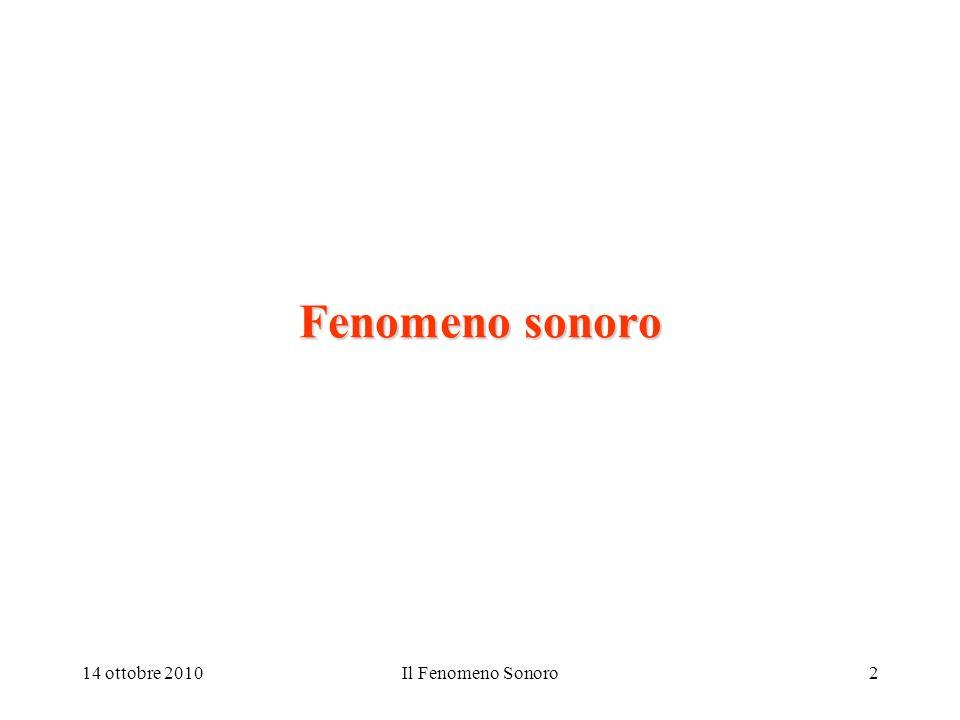 14 ottobre 2010Il Fenomeno Sonoro13 Pressione sonora, velocità ed impedenza Al passaggio dellonda sonora nel mezzo elastico si originano una sequenza di compressioni ed espansioni dello stesso, ciò implica una variazione della pressione ambiente rispetto al valore di equilibrio.