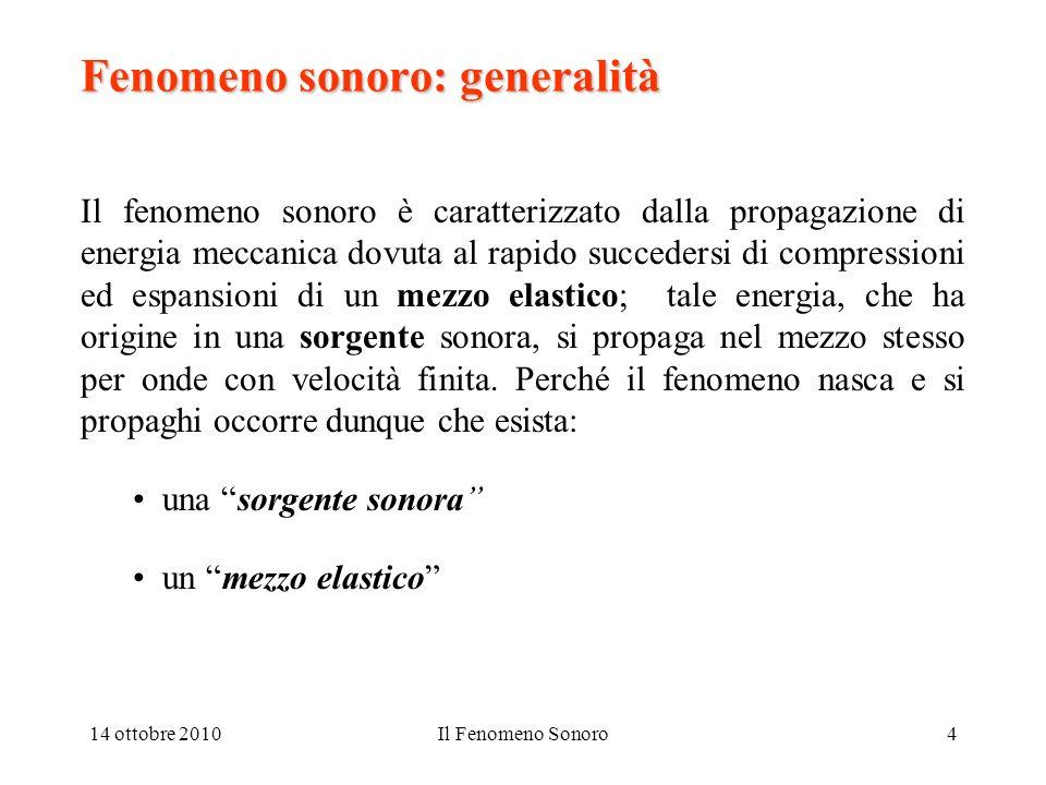 14 ottobre 2010Il Fenomeno Sonoro4 Fenomeno sonoro: generalità Il fenomeno sonoro è caratterizzato dalla propagazione di energia meccanica dovuta al r