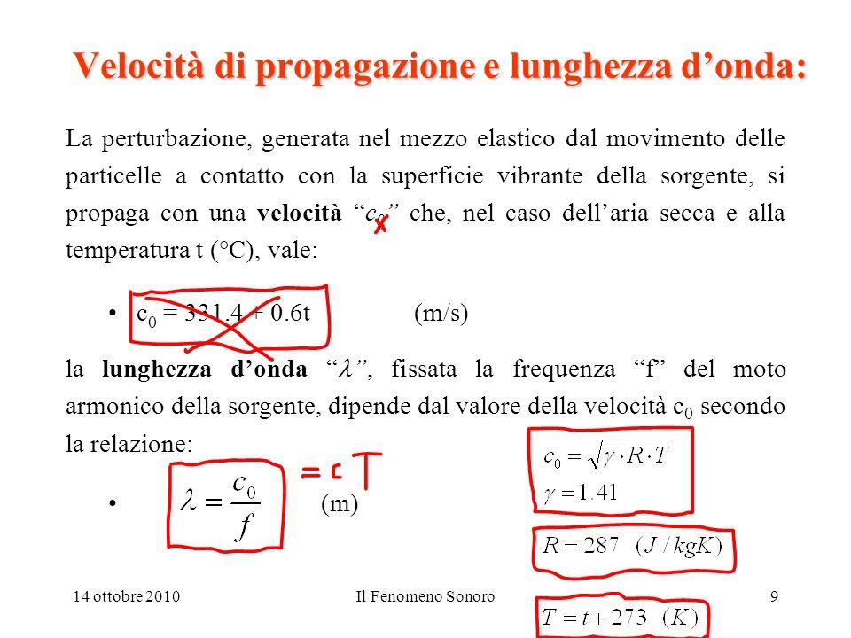 14 ottobre 2010Il Fenomeno Sonoro20 Livelli sonori – scala dei decibel (1): Cosa sono i decibel e perché si usano?: Le potenze e le intensità sonore associate ai fenomeni che lorecchio delluomo può percepire hanno unampia dinamica: 1 pW/m 2 (soglia delludibile) 1 W/m 2 (soglia del dolore) 20 Pa (soglia delludibile) 20 Pa (soglia del dolore) Per questo motivo si fa uso di una scala logaritmica, nella quale, al valore della grandezza in esame, si fa corrispondere il logaritmo del rapporto tra quello stesso valore ed un valore prefissato di riferimento.