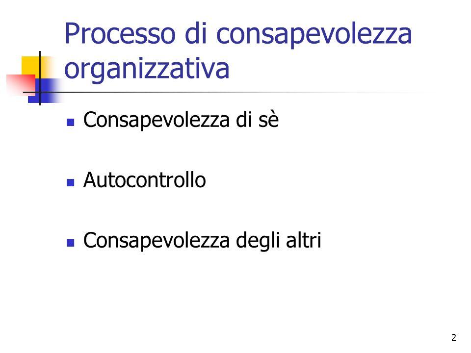 2 Processo di consapevolezza organizzativa Consapevolezza di sè Autocontrollo Consapevolezza degli altri