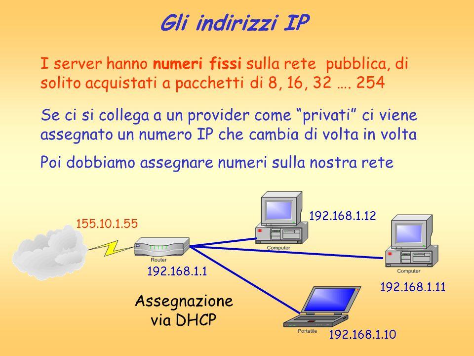 Gli indirizzi IP I server hanno numeri fissi sulla rete pubblica, di solito acquistati a pacchetti di 8, 16, 32 …. 254 Se ci si collega a un provider