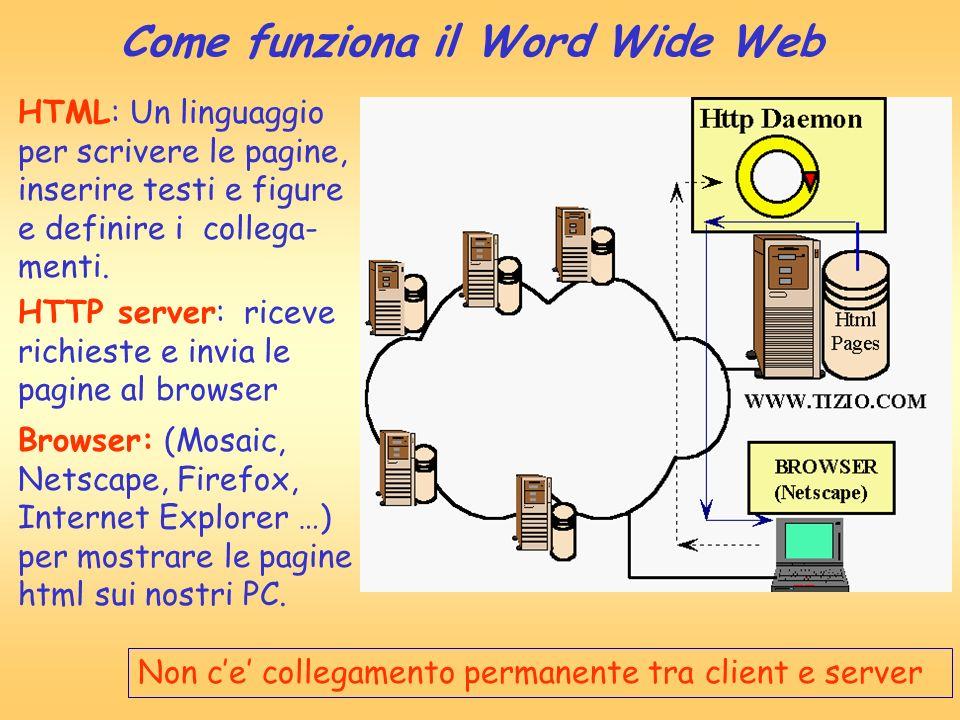 Come funziona il Word Wide Web HTML: Un linguaggio per scrivere le pagine, inserire testi e figure e definire i collega- menti. Browser: (Mosaic, Nets
