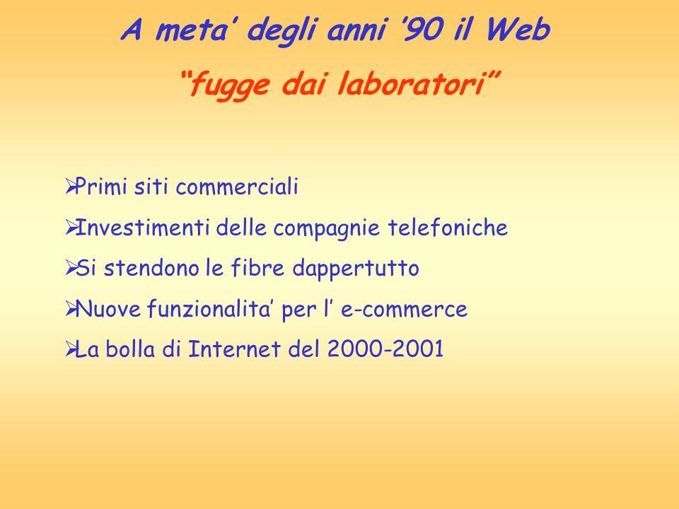 Primi siti commerciali Investimenti delle compagnie telefoniche Si stendono le fibre dappertutto Nuove funzionalita per l e-commerce La bolla di Inter