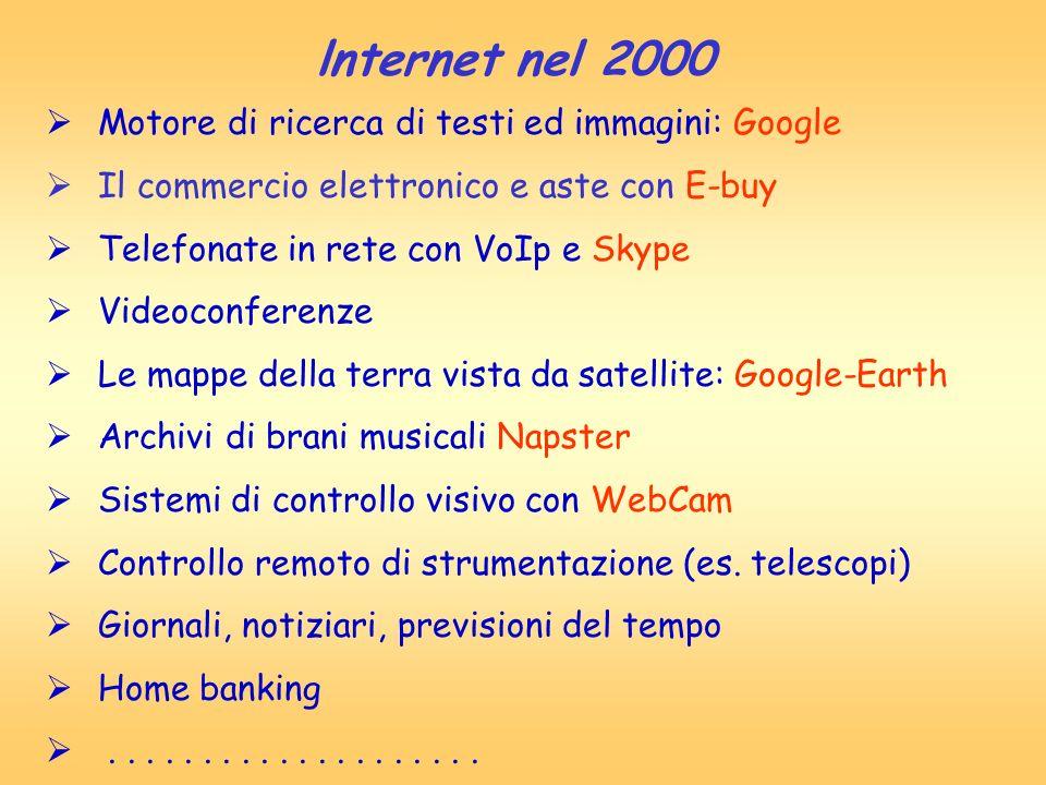 lnternet nel 2000 Motore di ricerca di testi ed immagini: Google Il commercio elettronico e aste con E-buy Telefonate in rete con VoIp e Skype Videoco