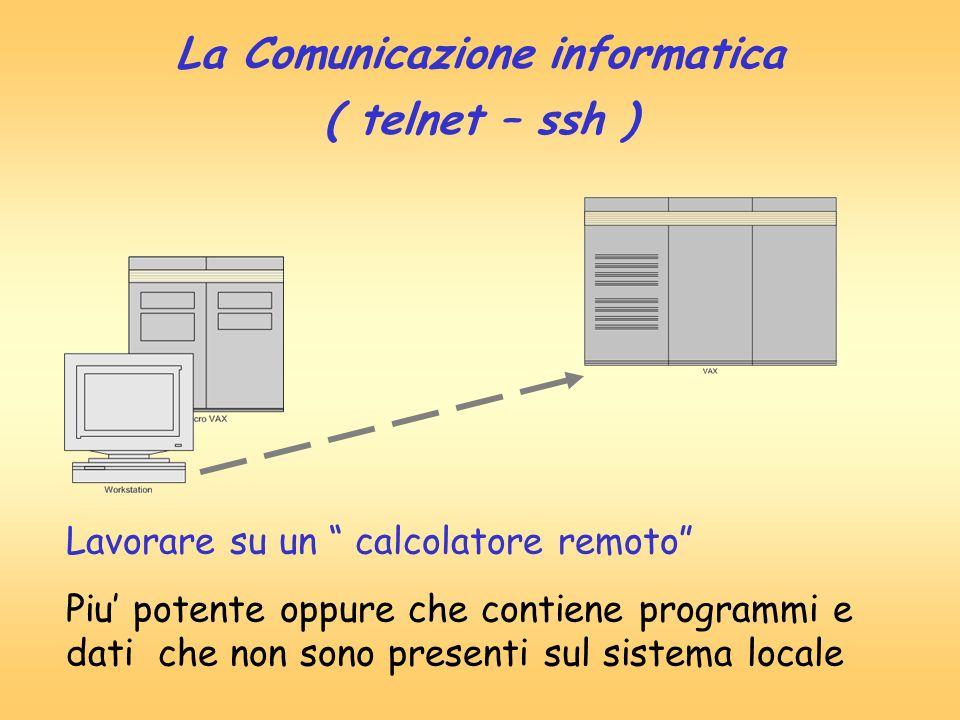 La Comunicazione informatica ( telnet – ssh ) Lavorare su un calcolatore remoto Piu potente oppure che contiene programmi e dati che non sono presenti