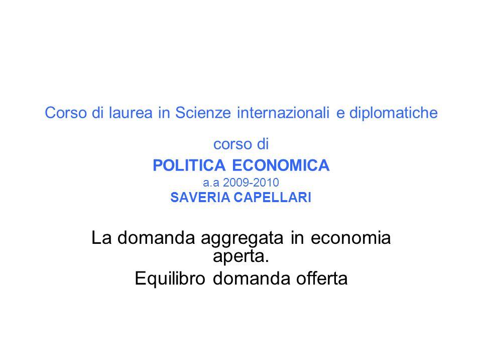 Corso di laurea in Scienze internazionali e diplomatiche corso di POLITICA ECONOMICA a.a 2009-2010 SAVERIA CAPELLARI La domanda aggregata in economia